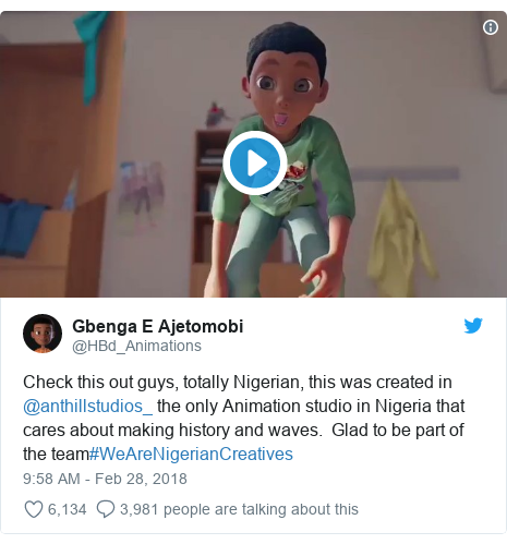 Twitter post by @HBd_Animations: Check this out guys, totally Nigerian, this was created in @anthillstudios_ the only Animation studio in Nigeria that cares about making history and waves. Glad to be part of the team#WeAreNigerianCreatives