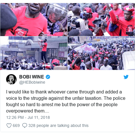Twitter post by @HEBobiwine: I would like to thank whoever came through and added a voice to the struggle against the unfair taxation. The police fought so hard to arrest me but the power of the people overpowered them....