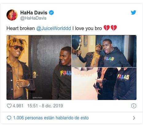 Publicación de Twitter por @HaHaDavis: Heart broken @JuiceWorlddd I love you bro ????