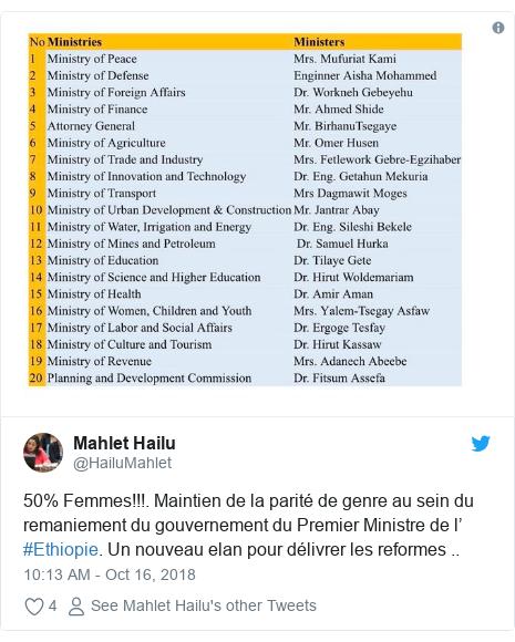 Twitter post by @HailuMahlet: 50% Femmes!!!. Maintien de la parité de genre au sein du remaniement du gouvernement du Premier Ministre de l' #Ethiopie. Un nouveau elan pour délivrer les reformes ..