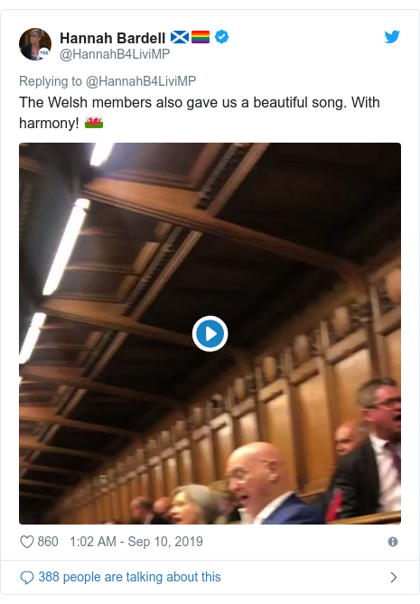 Twitter post by @HannahB4LiviMP: The Welsh members also gave us a beautiful song. With harmony! 🏴