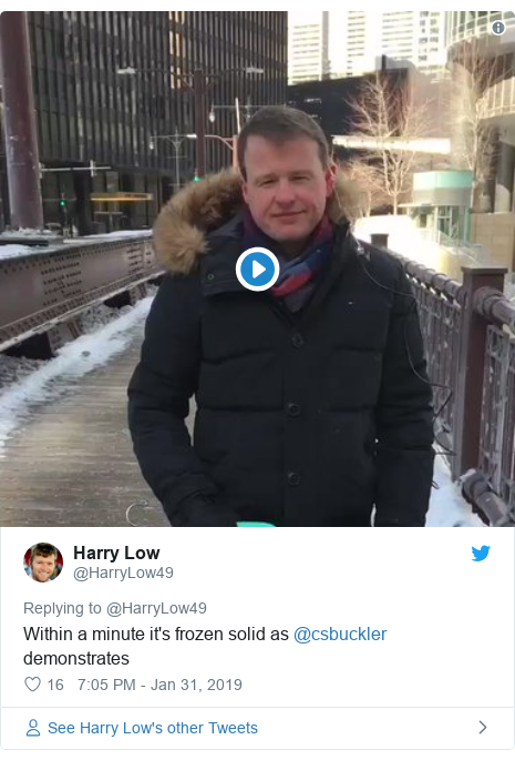 Twitter post by @HarryLow49: Within a minute it's frozen solid as @csbuckler demonstrates