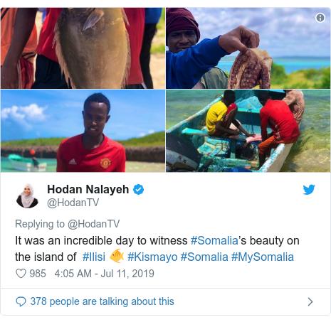 Twitter post by @HodanTV: It was an incredible day to witness #Somalia's beauty on the island of  #Ilisi 🐠 #Kismayo #Somalia #MySomalia
