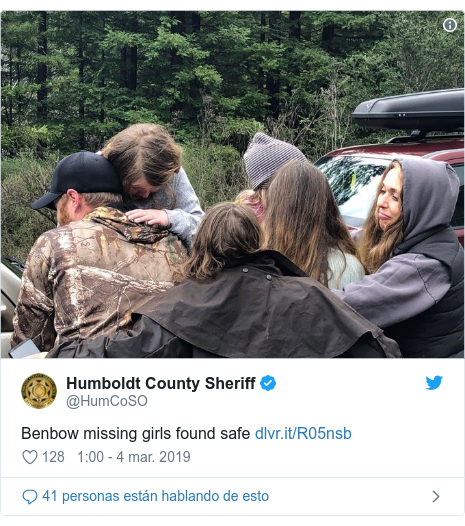 Publicación de Twitter por @HumCoSO: Benbow missing girls found safe