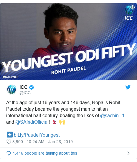 Twitter post by @ICC: At the age of just 16 years and 146 days, Nepal's Rohit Paudel today became the youngest man to hit an international half-century, beating the likes of @sachin_rt and @SAfridiOfficial! 🇳🇵 🙌 ➡️