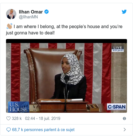Twitter publication par @IlhanMN: 👋🏽 I am where I belong, at the people's house and you're just gonna have to deal!
