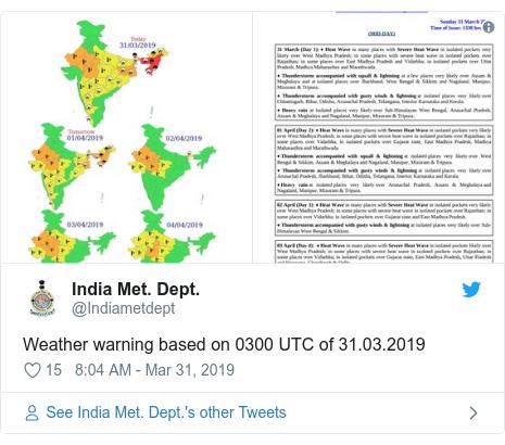Twitter post by @Indiametdept: Weather warning based on 0300 UTC of 31.03.2019