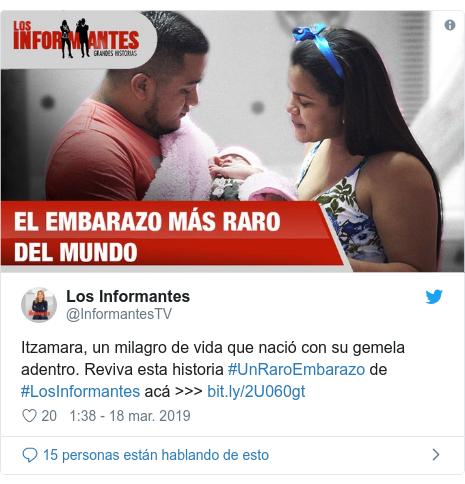 Publicación de Twitter por @InformantesTV: Itzamara, un milagro de vida que nació con su gemela adentro. Reviva esta historia #UnRaroEmbarazo de #LosInformantes acá >>>