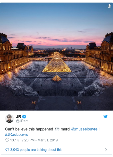 Twitter post by @JRart: Can't believe this happened 👀 merci @museelouvre ! #JRauLouvre