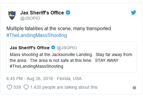 Twitter post by @JSOPIO: Multiple fatalities at the scene, many transported.  #TheLandingMassShooting