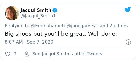 Twitter post by @Jacqui_Smith1: Big shoes but you'll be great. Well done.