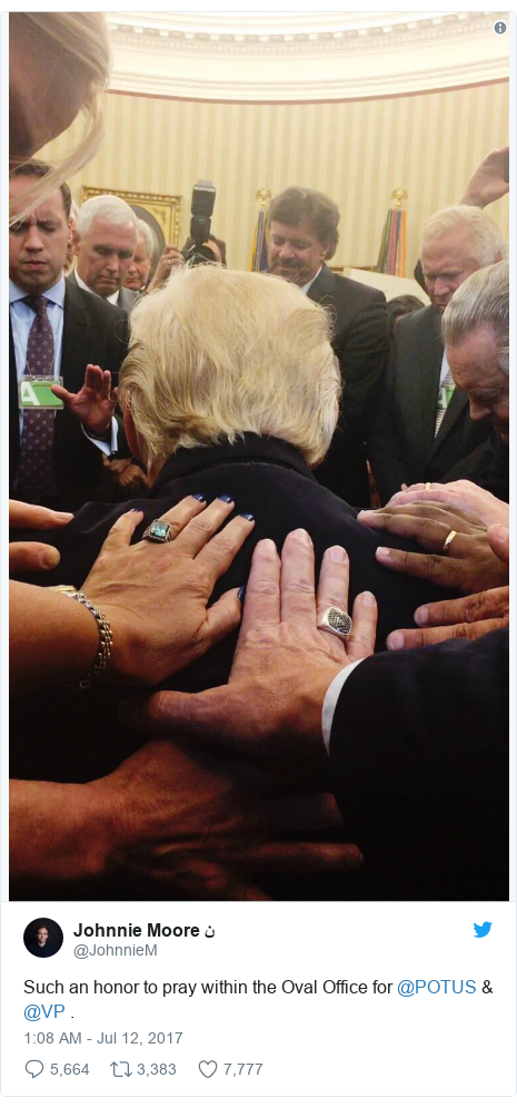 Twitter post by @JohnnieM: Such an honor to pray within the Oval Office for @POTUS & @VP .