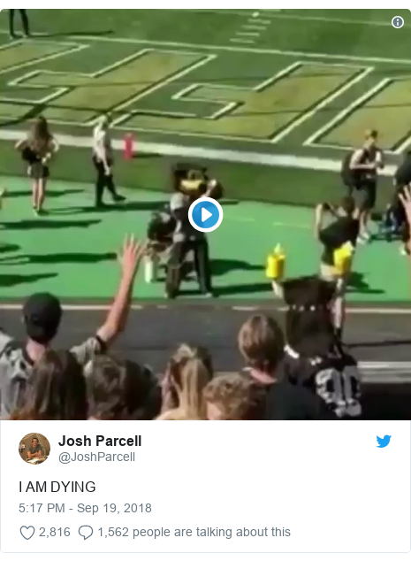 5fb6f1516bd US football mascot video goes viral after accident - BBC News