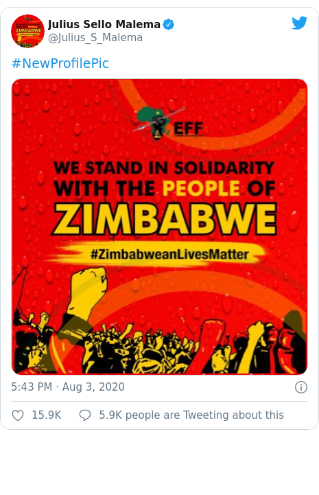 Twitter post by @Julius_S_Malema: #NewProfilePic