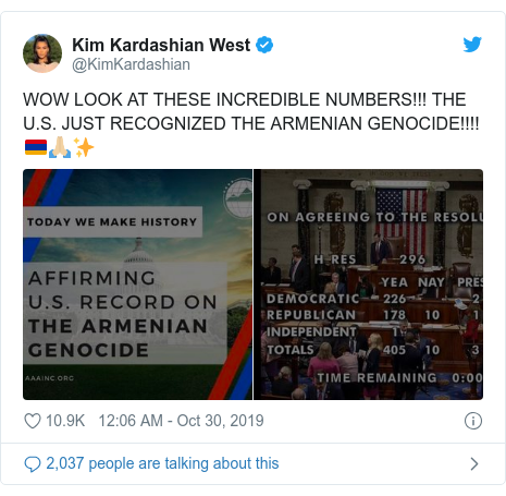 Twitter post by @KimKardashian: WOW LOOK AT THESE INCREDIBLE NUMBERS!!! THE U.S. JUST RECOGNIZED THE ARMENIAN GENOCIDE!!!! 🇦🇲🙏🏼✨
