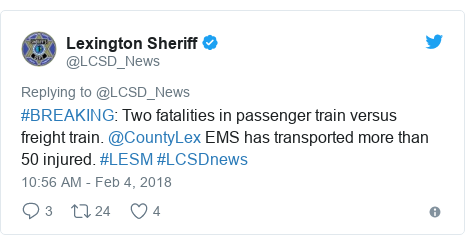 Twitter post by @LCSD_News: #BREAKING  Two fatalities in passenger train versus freight train. @CountyLex EMS has transported more than 50 injured. #LESM #LCSDnews
