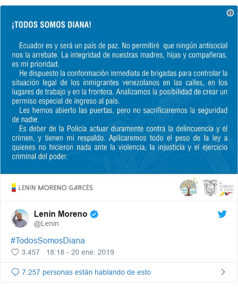 Publicación de Twitter por @Lenin: #TodosSomosDiana