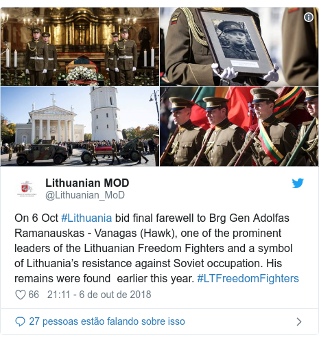 Twitter post de @Lithuanian_MoD: On 6 Oct #Lithuania bid final farewell to Brg Gen Adolfas Ramanauskas - Vanagas (Hawk), one of the prominent leaders of the Lithuanian Freedom Fighters and a symbol of Lithuania's resistance against Soviet occupation. His remains were found  earlier this year. #LTFreedomFighters
