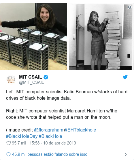 Twitter post de @MIT_CSAIL: Left MIT computer scientist Katie Bouman w/stacks of hard drives of black hole image data. Right MIT computer scientist Margaret Hamilton w/the code she wrote that helped put a man on the moon.(image credit @floragraham)#EHTblackhole #BlackHoleDay #BlackHole