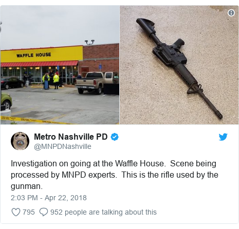 Twitter post by @MNPDNashville: Investigation on going at the Waffle House.  Scene being processed by MNPD experts.  This is the rifle used by the gunman.