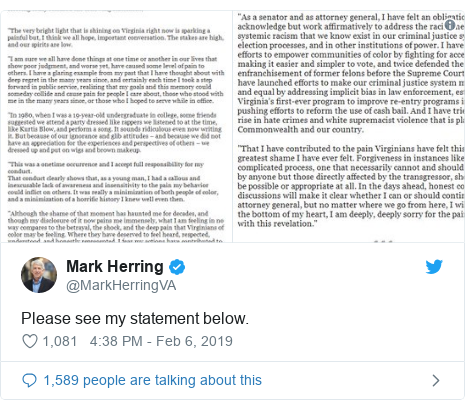 Twitter post by @MarkHerringVA: Please see my statement below.