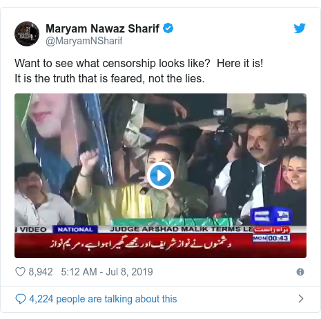 Twitter post by @MaryamNSharif: Want to see what censorship looks like?  Here it is! It is the truth that is feared, not the lies.
