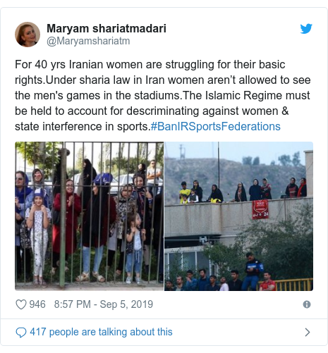 Twitter post by @Maryamshariatm: For 40 yrs Iranian women are struggling for their basic rights.Under sharia law in Iran women aren't allowed to see the men's games in the stadiums.The Islamic Regime must be held to account for descriminating against women & state interference in sports.#BanIRSportsFederations