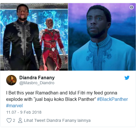 "Twitter pesan oleh @Masbro_Diandro: I Bet this year Ramadhan and Idul Fitri my feed gonna explode with ""jual baju koko Black Panther"" #BlackPanther #marvel"