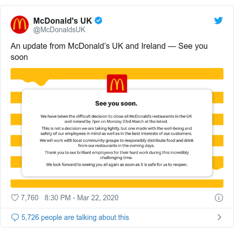 Twitter post by @McDonaldsUK: An update from McDonald's UK and Ireland — See you soon