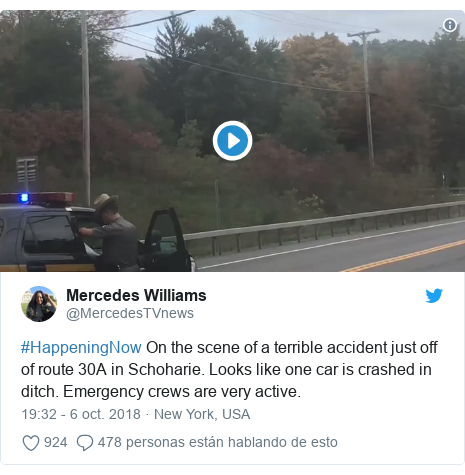 Publicación de Twitter por @MercedesTVnews: #HappeningNow On the scene of a terrible accident just off of route 30A in Schoharie. Looks like one car is crashed in ditch. Emergency crews are very active.