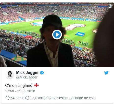 Publicación de Twitter por @MickJagger: C'mon England 🏴