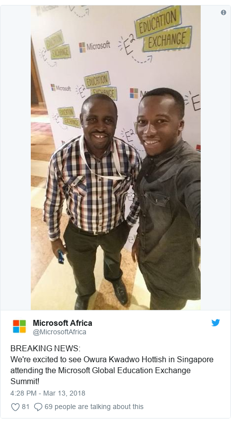 Ujumbe wa Twitter wa @MicrosoftAfrica: BREAKING NEWS We're excited to see Owura Kwadwo Hottish in Singapore attending the Microsoft Global Education Exchange Summit!