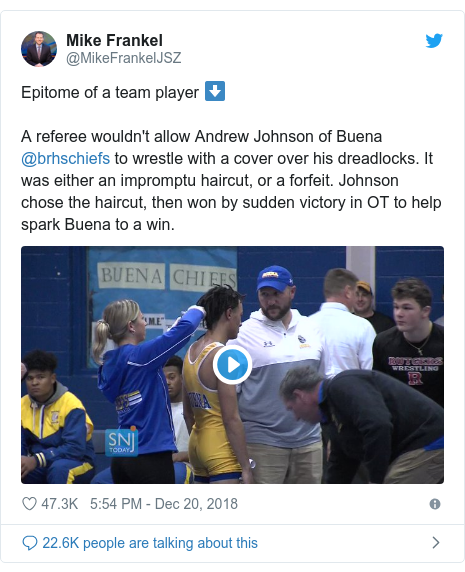 Twitter post by @MikeFrankelJSZ: Epitome of a team player ⬇️A referee wouldn't allow Andrew Johnson of Buena @brhschiefs to wrestle with a cover over his dreadlocks. It was either an impromptu haircut, or a forfeit. Johnson chose the haircut, then won by sudden victory in OT to help spark Buena to a win.