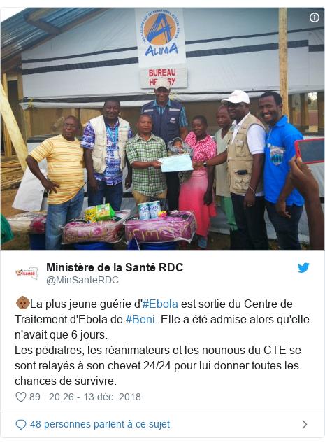 Twitter publication par @MinSanteRDC: 👶🏾La plus jeune guérie d'#Ebola est sortie du Centre de Traitement d'Ebola de #Beni. Elle a été admise alors qu'elle n'avait que 6 jours. Les pédiatres, les réanimateurs et les nounous du CTE se sont relayés à son chevet 24/24 pour lui donner toutes les chances de survivre.