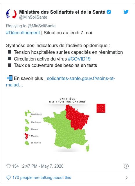Twitter post by @MinSoliSante: #Déconfinement | Situation au jeudi 7 maiSynthèse des indicateurs de l'activité épidémique  ◾ Tension hospitalière sur les capacités en réanimation◾ Circulation active du virus #COVID19◾ Taux de couverture des besoins en tests 📲 En savoir plus