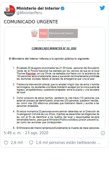 Publicación de Twitter por @MininterPeru: COMUNICADO URGENTE