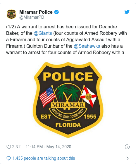 Twitter post by @MiramarPD: (1/2) A warrant to arrest has been issued for Deandre Baker, of the @Giants (four counts of Armed Robbery with a Firearm and four counts of Aggravated Assault with a Firearm.) Quinton Dunbar of the @Seahawks also has a warrant to arrest for four counts of Armed Robbery with a