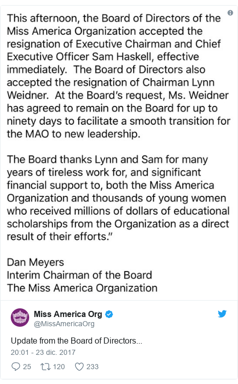 Publicación de Twitter por @MissAmericaOrg: Update from the Board of Directors...