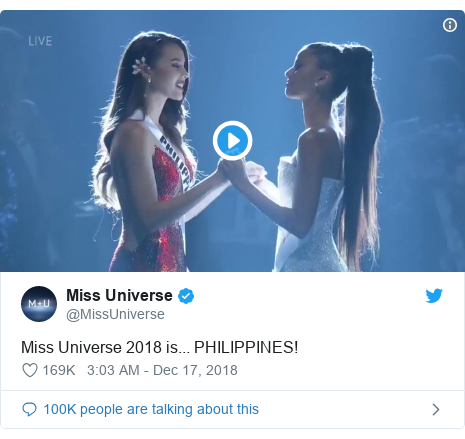 Twitter හි @MissUniverse කළ පළකිරීම: Miss Universe 2018 is... PHILIPPINES!