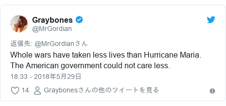 Twitter post by @MrGordian: Whole wars have taken less lives than Hurricane Maria. The American government could not care less.