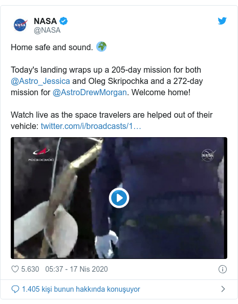 @NASA tarafından yapılan Twitter paylaşımı: Home safe and sound. 🌍Today's landing wraps up a 205-day mission for both @Astro_Jessica and Oleg Skripochka and a 272-day mission for @AstroDrewMorgan. Welcome home!Watch live as the space travelers are helped out of their vehicle