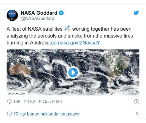 @NASAGoddard tarafından yapılan Twitter paylaşımı: A fleet of NASA satellites 🛰️ working together has been analyzing the aerosols and smoke from the massive fires burning in Australia.