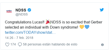 Publicación de Twitter por @NDSS: Congratulations Lucas!! 🎉NDSS is so excited that Gerber selected an individual with Down syndrome! 💛💙