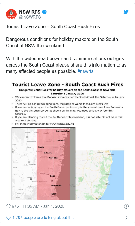 Twitter post by @NSWRFS: Tourist Leave Zone – South Coast Bush FiresDangerous conditions for holiday makers on the South Coast of NSW this weekendWith the widespread power and communications outages across the South Coast please share this information to as many affected people as possible. #nswrfs