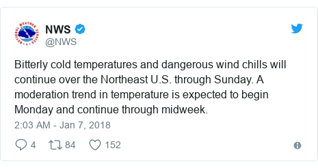 Twitter post by @NWS: Bitterly cold temperatures and dangerous wind chills will continue over the Northeast U.S. through Sunday. A moderation trend in temperature is expected to begin Monday and continue through midweek.