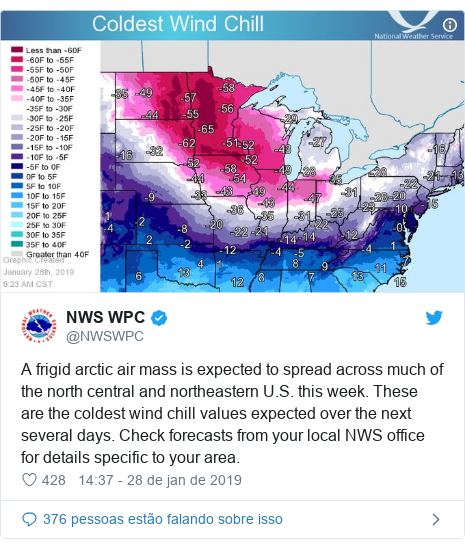 Twitter post de @NWSWPC: A frigid arctic air mass is expected to spread across much of the north central and northeastern U.S. this week. These are the coldest wind chill values expected over the next several days. Check forecasts from your local NWS office for details specific to your area.