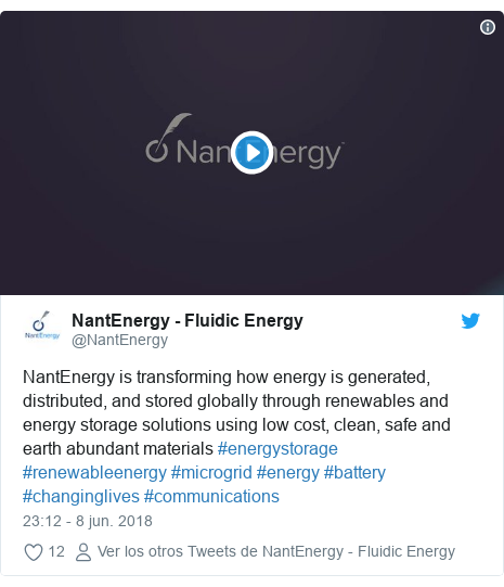 Publicación de Twitter por @NantEnergy: NantEnergy is transforming how energy is generated, distributed, and stored globally through renewables and energy storage solutions using low cost, clean, safe and earth abundant materials #energystorage #renewableenergy #microgrid #energy #battery #changinglives #communications