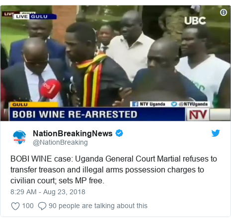 Ujumbe wa Twitter wa @NationBreaking: BOBI WINE case  Uganda General Court Martial refuses to transfer treason and illegal arms possession charges to civilian court; sets MP free.