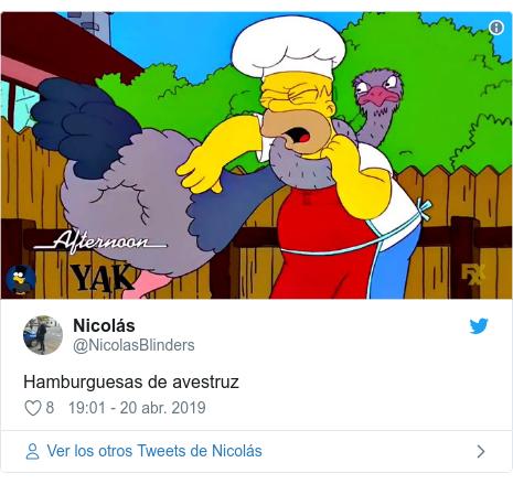 Publicación de Twitter por @NicolasBlinders: Hamburguesas de avestruz