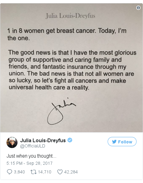 dbcca3fc95271 Veep star Julia Louis-Dreyfus reveals breast cancer diagnosis - BBC News